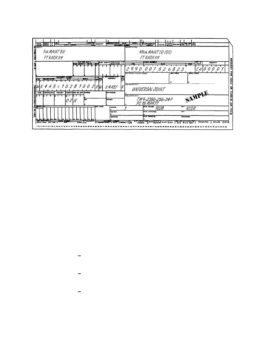 Figure 3-9. Sample of completed DA Form 2765-1 as a receipt ...