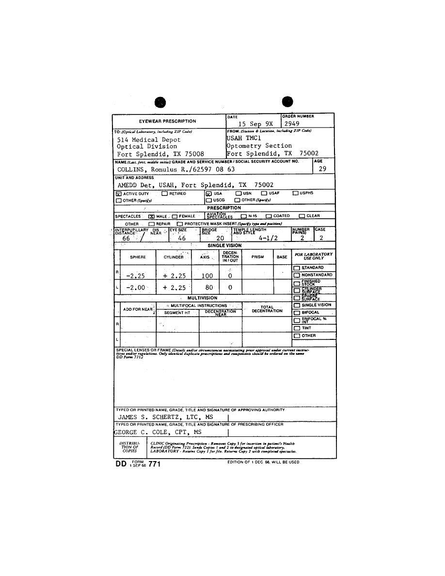 Figure 2-15. DD Form 771 (Eyewear Prescription). - Outpatient ...