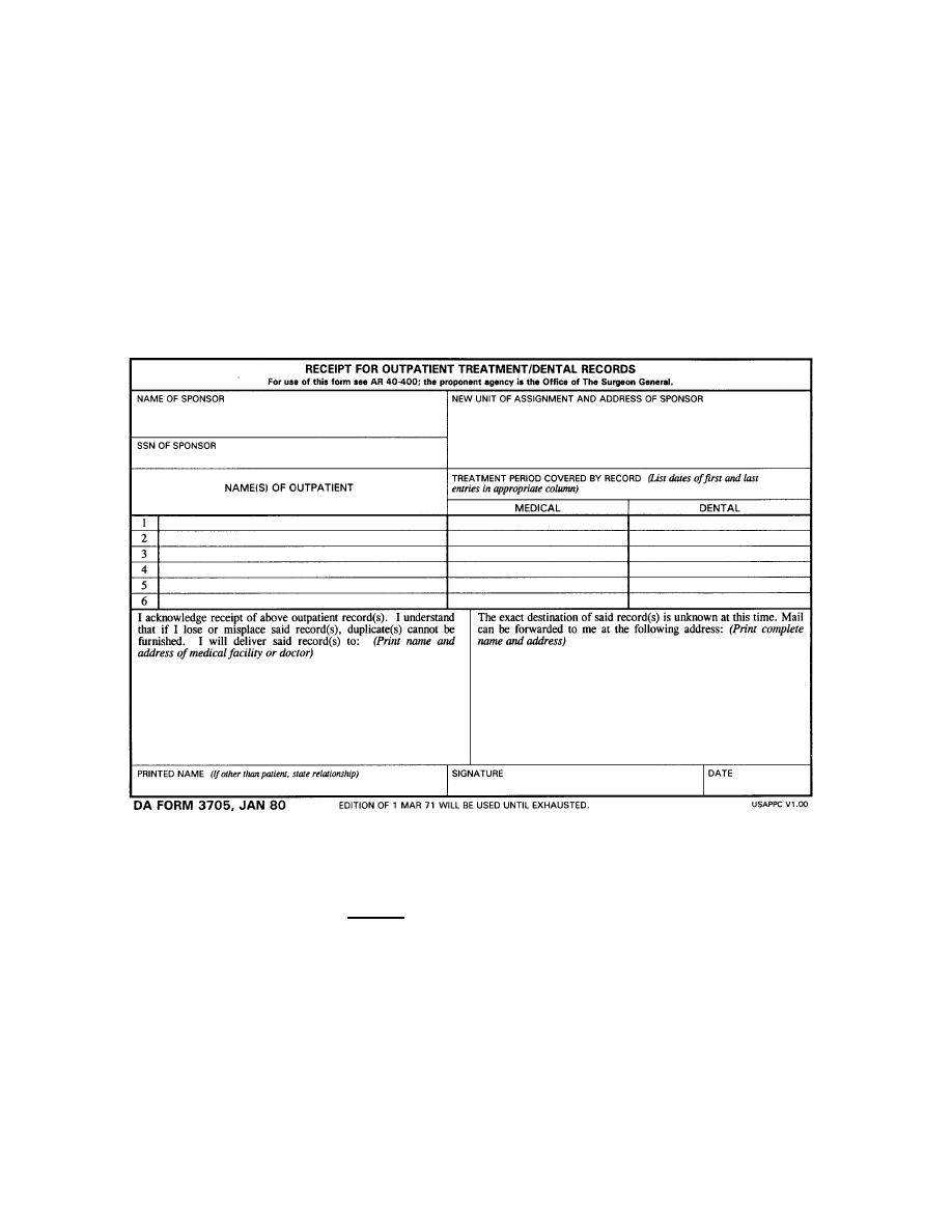 Exceptional DA Form 3705 (Receipt For Outpatient Treatment/Dental Records). Outpatient  Medical Records