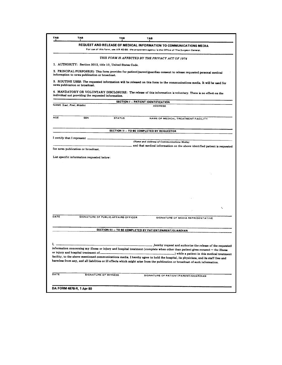 DA Form 4876 R, Request And Release Of Medical Information To  Communications Media (continued).   Medical Records Admin II