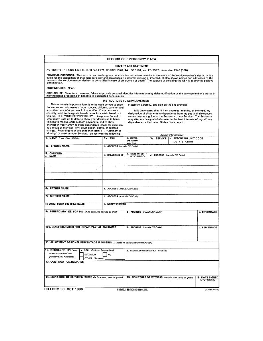Figure 6-1. DD Form 93, Record of Emergency Data. - Patient ...
